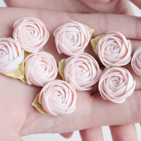 Flowers WEDDING FAVORS, rose party favor, flower brooch, flowers magnets, baby pink  green, baby shower favor,  bridal favors, guest favors