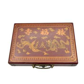 Family Friends party Board game K8356 1Set Mini Chinese Antique Mahjong Games With English Instruction Four Wind  1.7*2.2*1.2cm Wooden Box Majiang AT_41_3