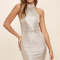 Diamond Heart Gold Bodycon Dress