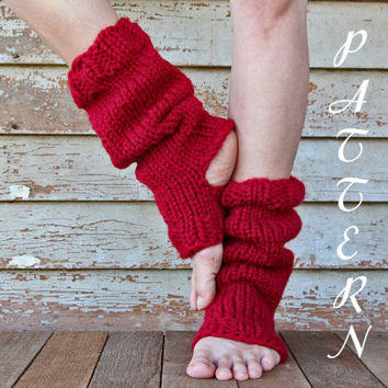 Tall & Slouchy Knitted Yoga Sock PDF Pattern - Pedicure Socks -  Chunky Dance Socks - Pilates Socks - Toeless Sock - Instant Download