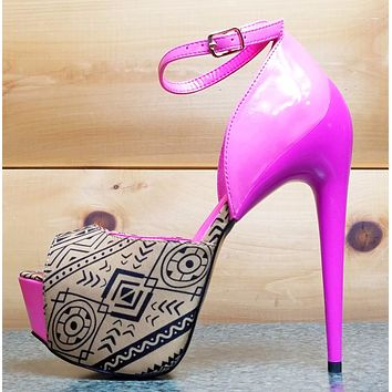 "Privileged Hot  Night Tan Pink Tribal Sleek 6.5"" High Heel Platform Shoes"