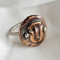 Sterling silver and bronze hand formed ring with woman's face ancient