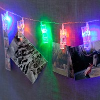 Lights.com | Browse More | Novelty | Gifts & Stocking Stuffers | Clothespins 10 LED Battery String Lights by LampLust