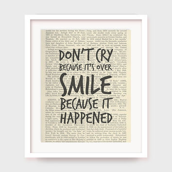 "Dictionary Art Print, Dr Seuss Quote, ""Don't Cry Because It's Over, Smile Because it Happened"", Printable Wall Art, Instant Download"