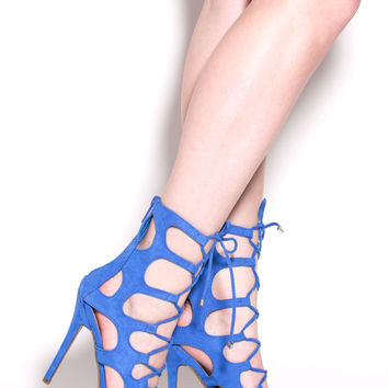 Cage Fighter Faux Suede Lace Up Heels GoJane.com
