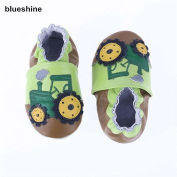 Baby Boys Genuine Cow Leather Applique Design Moccasins