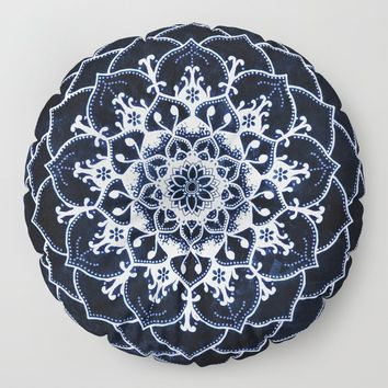 Indigo Glowing Spirit Blue & White Flower Mandala Floor Pillow by inspiredimages