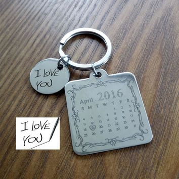 Personalized Calendar Keychain,Signature calendar key chain Hand Stamped Calendar, Date highlighted with heart, Fathers Day Sale