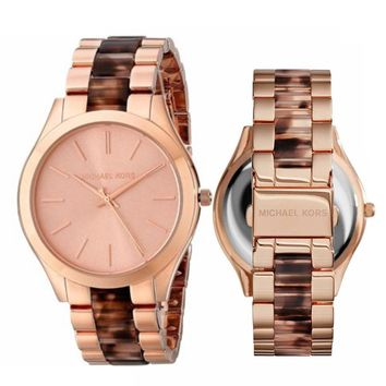New Michael Kors MK4301 Women's Slim Runway Blush Tortoise Rose Gold-Tone Watch