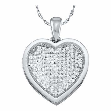 10kt White Gold Women's Round Diamond Cluster Small Heart Love Pendant 1-20 Cttw - FREE Shipping (US/CAN)
