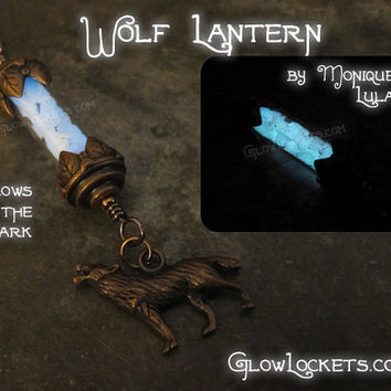Glow in the Dark Wolf Charm Lantern Copper Leaf Fairy Tale