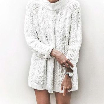 Fashion Crochet Long Sleeve Hollow Top Sweater Knitwear