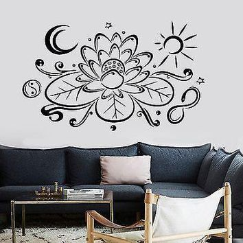 Wall Sticker Buddha Lotus With Moon And Sun Buddhism Vinyl Decal Unique Gift (z2943)