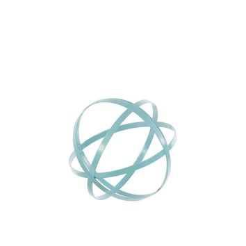 Metal Orb Dyson Sphere Design decor (4 Circles) Coated, Blue-benzara