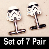 Groomsmen Gifts, Wedding, Storm Troopers on silver toned cufflinks in gift box, Set of 7 Pair