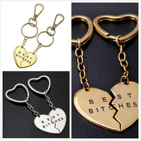 Love Heart Keychains For Couples Best Bitches