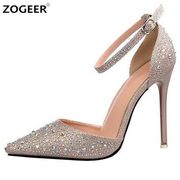 DCK7YE Luxury Crystal Women Pumps High Heels Sexy Ankle Strap Mary Janes OL Shoes Woman Point