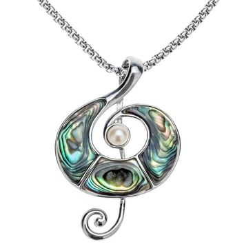 SHIPS FROM USA Abalone shell music note necklace pendant W stainless steel chain jewelry birthday gifts for women her wife girlfriend I031