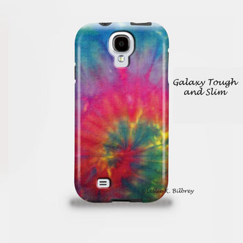 Samsung Galaxy S4 S3, iPhone 5 4 4S 3, iPod Case, Tough Protective Case, Spiral Pink Blue Green Tie Dye Photo Case, Plastic and Rubber Case