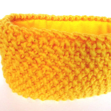 Bright yellow knitted headband fleece lined ski accessory for women 100% wool headband ear-warmer Irish knitwear warm chunky knit headbands