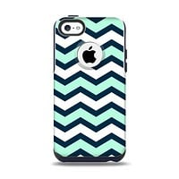 The Teal & Blue Wide Chevron Pattern Apple iPhone 5c Otterbox Commuter Case Skin Set