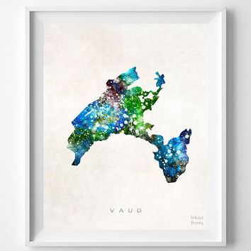Vaud, Switzerland, Map, Print, Watercolor, Swiss, Europe, Home Town, Poster, Art, Gift, Living Room, Painting, Bedroom, World [NO 1248]