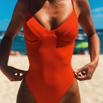 New solid color one-piece bikini hard bag steel tube swimsuit one-piece female swimsuit sexy backless bikini