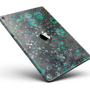 "Floral Pattern on Black Watercolor Full Body Skin for the iPad Pro (12.9"" or 9.7"" available)"