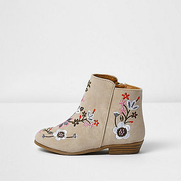 Mini girls cream embroidered ankle boots - baby girls boots - baby girls shoes / boots - mini girls - girls