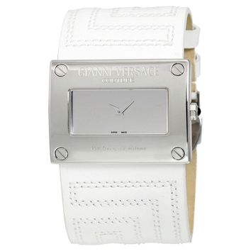 Versace V-Couture Oriz Silver Dial White Leather Ladies Watch 71Q99D999-S001