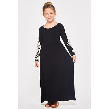 Fall Girls Black Crochet Maxi Dress