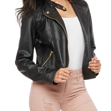 Faux Leather Stitched Moto Jacket