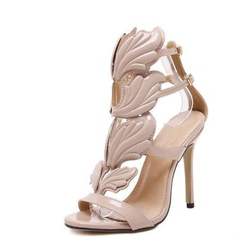 Winged Leaves Cut-Outs Stiletto Gladiator Sandals
