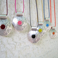 Bohemian tribal statement necklace: choose your color. Matte antique silver statement round pendant with a touch of color. Boho chic jewelry