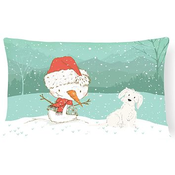 Maltese Snowman Christmas Canvas Fabric Decorative Pillow CK2094PW1216