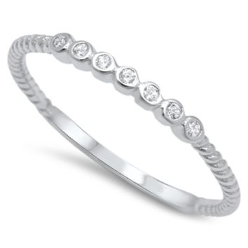 .925 Sterling Silver Tiny Circles CZ Bar Ring Ladies and Kids Size 3-12 Midi Thumb Knuckle