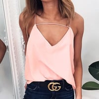 Chiffon Spaghetti Strap Summer Sexy V-neck Tops Women's Fashion Bottoming Shirt [11462534351]