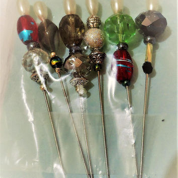 Stick Pins - Beaded Quilting Pins - Glass Beaded Stick Pins - Hat Pins - Corsage Pins - Stick Pins - Beaded Pins - Pins