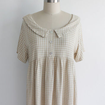 Vintage 90s Cotton Gingham Country Dress | medium