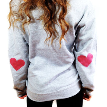 Heart Elbow Sweatshirt Women's Off The Shoulder Red Heart Hipster Tumblr Sweater