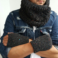 INFINITY SCARF MENS Hand Crochet Scarf Soft Infinity Mens Fingerless Gloves Braided Cable Boho Cowl Loop Crochet Slouchy Mens Scarf Winter