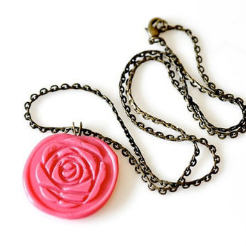 Customized Peony Floer Wax Seal Necklace - 10 Colors Available