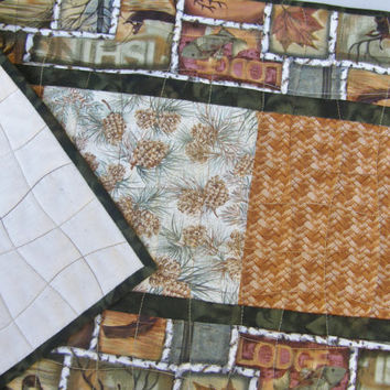 Autumn Table Runner - Pine Cones and Wildlife