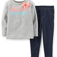 Carter's Newborn-24 Months Awesome Like Mommy Dotted Tee & Knit Denim