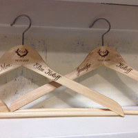 Custom Etched Burned Wood Hanger - Great Bridesmaid gift wedding hangers or Clothing Boutique with company Logo