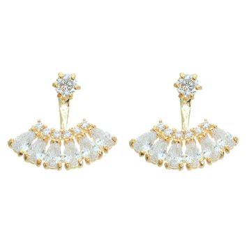 Cubic Zirconia Fan Earrings