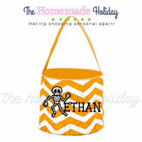 Personalized Halloween trick or treat bag- skeleton halloween trick or treat bucket, quaterfoil bag, chevron bag, polka dot bag