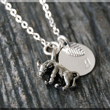 Silver Taurus Zodiac Charm Necklace, Initial Charm Necklace, Personalized, Zodiac Horoscope Sign, Taurus Pendant, Zodiac Taurus Jewelry