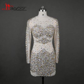 Sexy Pageant Dresses 2017 Illusion Neckline Cocktail Dresses  Full with Crystals/Rhinestones Sheath Mini/Short with Long Sleeves