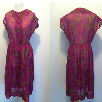 Vintage 1960s Dress / Marcy Lee Dallas / Purple Printed Sheer Button Down Summer Dress / New Old Stock / Deadstock